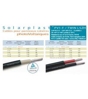 Câble solaire 4mm² noir 1000V TUV